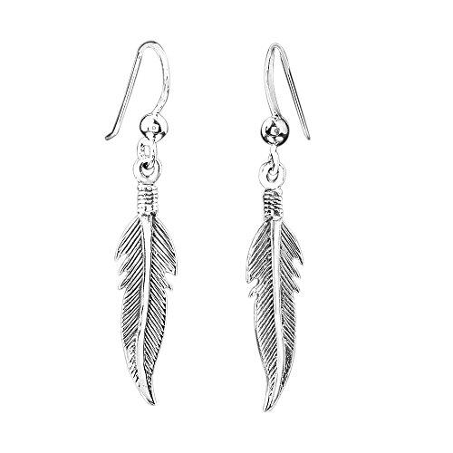 MATERIA 925 plata pendientes de plumas - Pluma pendientes de plata envejecido para joyería de calidad 7 x 39 mm incluye en caja #SO-122