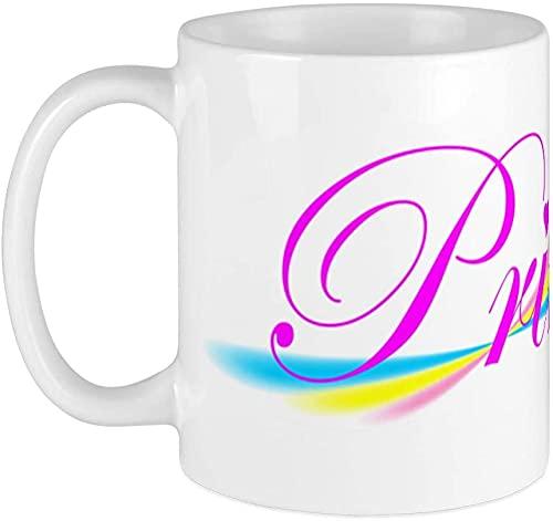 Taza de café de 14 onzas, apta para microondas y lavaplatos, diseño de arco iris, blanco y arcoíris