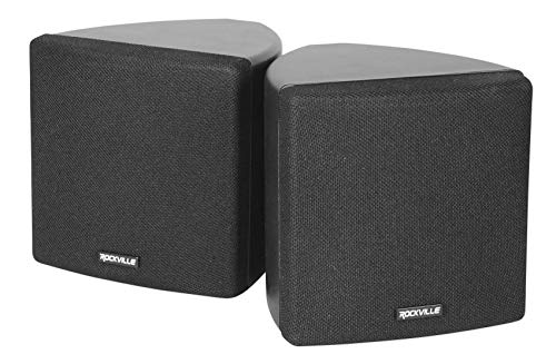 "Cube by Rockville Cube Black Pair of 3.5"" Black Home Theater Wall Speakers+Swivel Brackets"