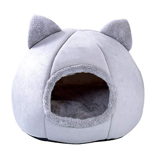 GW Pet Bed Cat Igloo Bed -Cat semi-closed warm kennel winter plus velvet deep sleep pet nest,Cat Small Dog Cosy Bed Pets Igloo Bed Hideout Cave