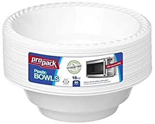 [100 Count] Disposable Plastic White 18 oz Heavy Weight Bowls, Great For Weddings, Home, Office, School, Party, Picnics, T...