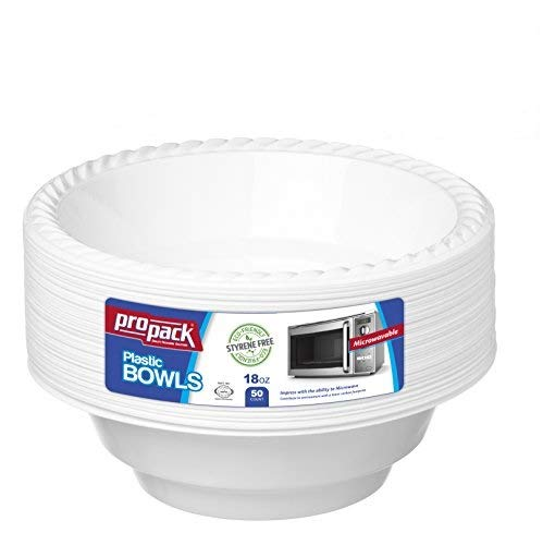 [50 Count] Disposable Plastic White 18 oz Heavy Weight Bowls, Great For Weddings, Home, Office, School, Party, Picnics, Take-out, Fast Food, Outdoor, Events, Or Every Day Use, By ProPack