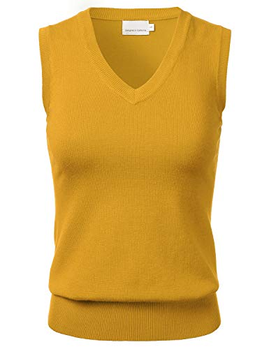Women Solid Classic V-Neck Sleeveless Pullover Sweater Vest Top Mustard XL
