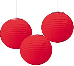 Balloonistics Round Paper Lanterns for Decorations 12 Inch-Set of 3 (Red)