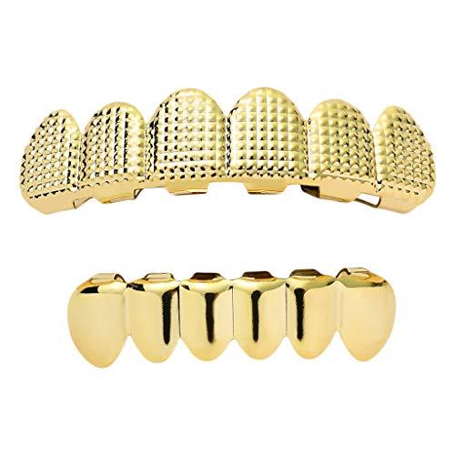 Bonarty 18 K Zähne Grills Hip Hop Rock Stil Zahnschmuck für Obere und Untere Zähne Halloween Schmuck - Golden