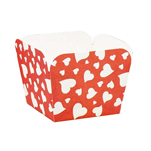 PANDA SUPERSTORE 100 Pcs Heat-Resistant Cupcake Paper Baking Cup Square Muffin Cup, Red Heart