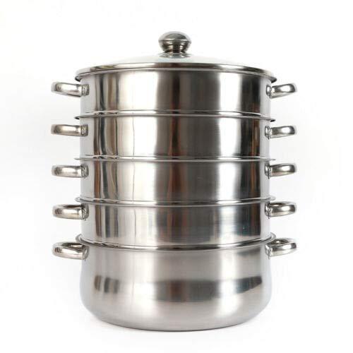 SHZICMY Cocina al vapor de acero inoxidable, 5 capas, 4 recipientes para cocinar al vapor, 26 cm, práctica olla con tapa de cristal