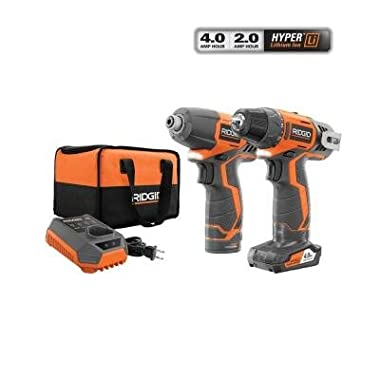 Ridgid R9000K 12V Hyper Lithium-Ion Drill/Driver Combo Kit (Includes: 1 x R82005 Drill, 1 x R82230 Impact Driver, 1 x AC82049 2AH Battery, 1 x AC82059 4AH Battery, 1 x R86049 Charger)