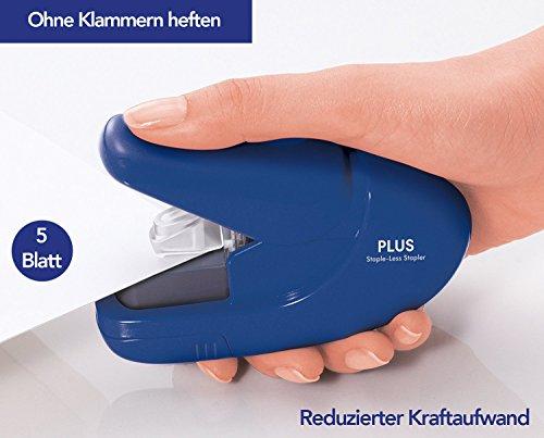 PLUS Japan, Klammerloser Hefter in Blau, Heftleistung 5 Blatt, 1er Pack (1 x 1 Hefter) - 4