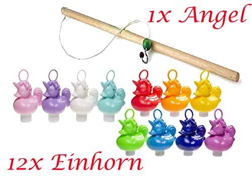 Partynelly 12x Einhorn Enten + 1x Angel zum Einhorn Enten Angeln, 10 Farben, Entenangeln, Angelspiel