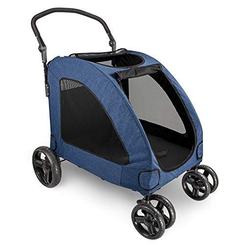 IREENUO Hundebuggy Hundewagen, Faltbare Haustier Buggy Hundekinderwagen für mittelgroße und große Hunde 4 Räder (Blau)