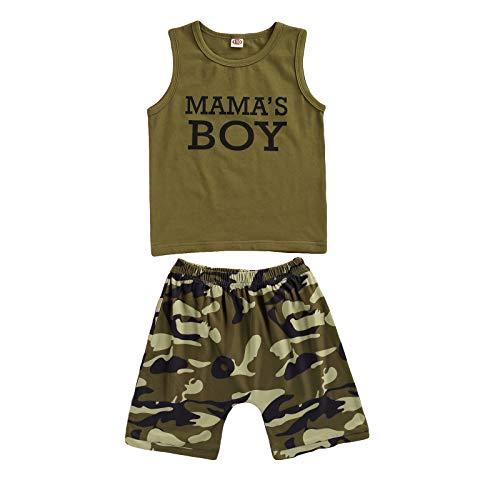 Conjunto de niño/niña de verano camiseta con letras impresas 'Mama 's Girl/Boy 'a manga cuello redondo + pantalones cortos completo para camuflaje Verde Boy 3-4 años