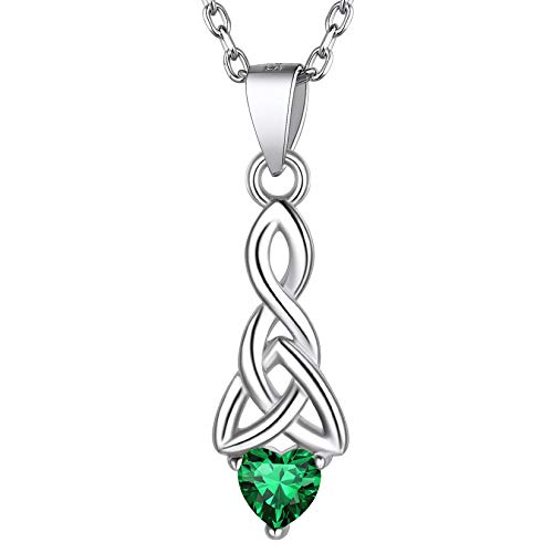 Irish Good Luck Necklace, Celtic Trinity Knot Necklace, May Emerald Birthstone Necklace Jewelry, 925 Sterling Silver Celtic Birthstone Heart Pendant Necklace for Women Girls