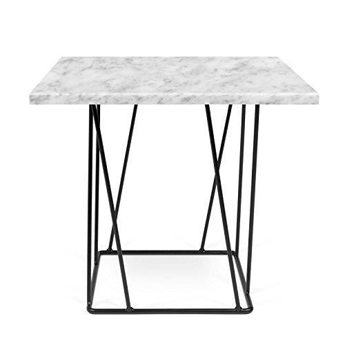 Paris Prix - Temahome- Table D'appoint Design Helix 50cm Marbre Blanc & Métal Noir