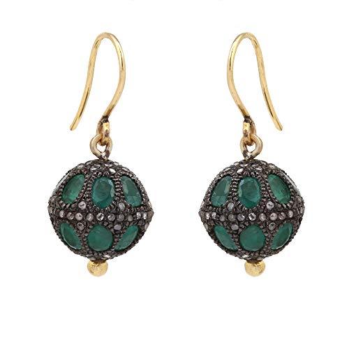Pendientes de diamantes de esmeralda real con diamante natural de 0,74 quilates, color marrón (claridad I2-I3) en plata de ley 925 con diseño de bola de oro de 14 quilates