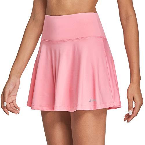BALEAF Women's High Waisted Tennis Skirt Golf Active Sport Running Skorts Skirts Ball Pockets Pink M
