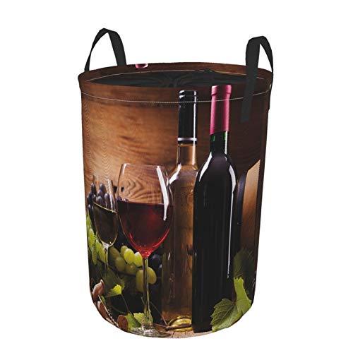 ZOMOY Impermeable Plegable Cestos para la Colada,Impresión de cata de vinos Gourmet francés,Cajas de almacenaje Cestas de Tela para Guardar Organizadoras Juguetes Ropa