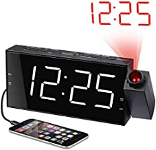"Projection Alarm Clock for Bedrooms, Digital Alarm Clock with Large 7"" LED Display & Dimmer, 180° Projector, USB Charger, 12/24 H, DST, Snooze, Battery Backup, Desk Wall Ceiling Clock for Kid Elderly"