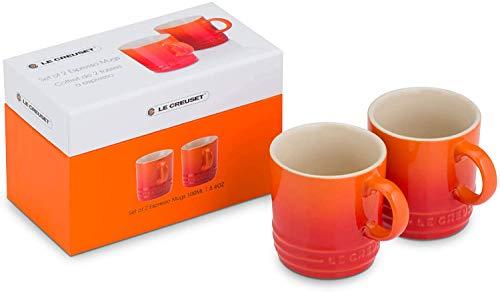 Le Creuset Set de 2 tazas de espresso, Cerámica de gres, 100 ml cada una, Naranja Volcánico