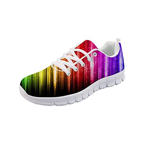 HUGS IDEA Low-Top Turnschuhe Funny Print Mesh Athletic Schuhe Laufen Klettern Sneaker Krankenschwester Zahn Jamaika Stripe Leopard, Rainbow Stripe White, 38.5 EU