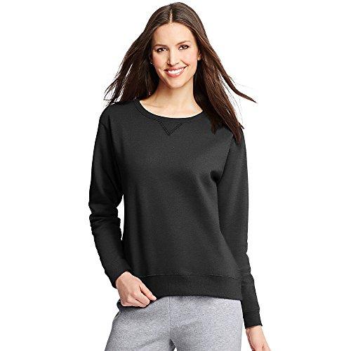 Hanes Women's EcoSmart Crewneck Sweatshirt, Ebony, Medium