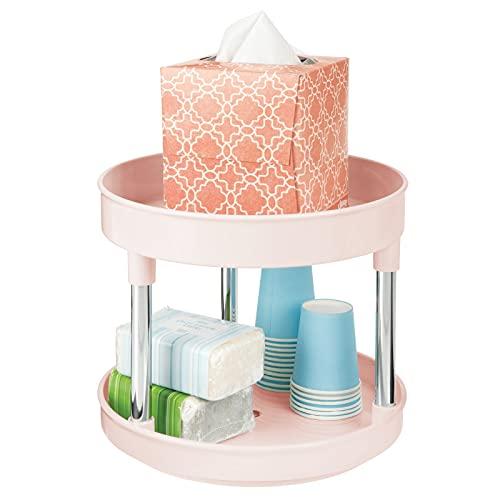 mDesign Plataforma giratoria redonda – Elegante organizador de maquillaje, lociones o medicamentos – Base giratoria con 2 niveles en baños y cocinas – rosa y plateado