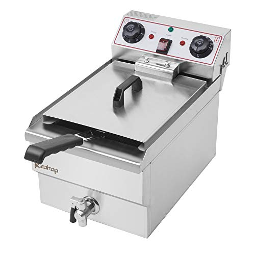 Deep Fryers,EH101V 8.5QT 1700W Max Large Capacity Stainless Steel Faucet Single Tank Deep Fryer 60-Minute Timers Electric Compact Deep Fryer with Large Handle and Lid Cover for Commercial Use and Home…