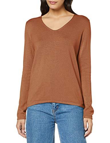 Tom Tailor Basic V-Neck Pullover, 13261-Hay Beige Non Solido, L Donna