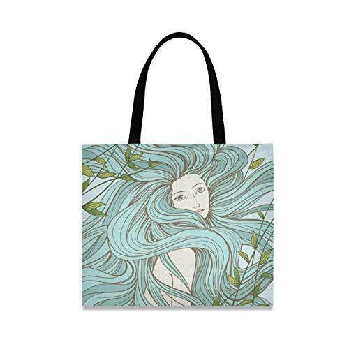 UMIRIKO Einkaufstasche mit langen Haaren und Seetang, aus Segeltuch, wiederverwendbar, für Damen, 2020086