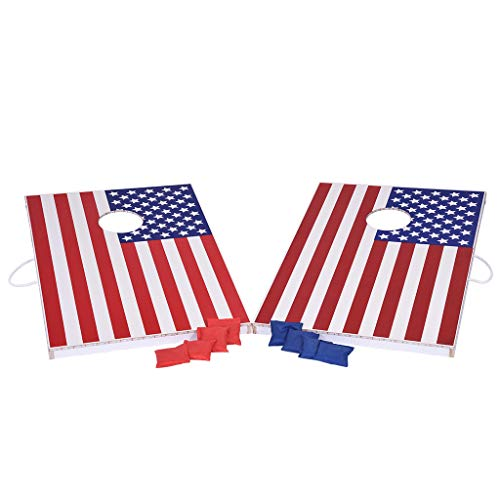 Airpow USA Flag Cornhole Game Set - LED Lighted Flag Series Wood Cornhole Sets - Deluxe Bean Bag Toss Set Includes 8 Bean Bags, Best Picnic & BBQ Target Sport (Shipped from USA)