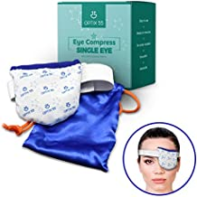 Single Moist Heat Eye Compress Pad - Microwavable, Eye Mask for Dry Eye | Good for Pink Eye, Blepharitis and Stye Eye | Ultra Absorbent, Washable and Reusable with Storage Pouch
