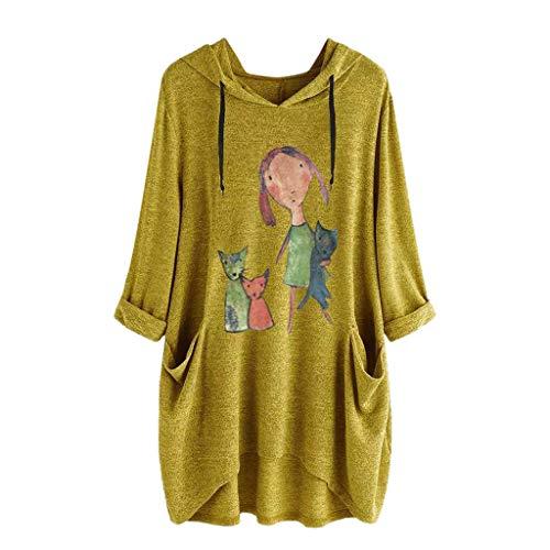 Camiseta Mujer Verano Moda Oreja de Gato Impresión Manga Corta Tallas Grandes Camiseta con Capucha Blusa Camisa Basica Camiseta Suelto Estampado Tops Casual Fiesta T-Shirt tee vpass