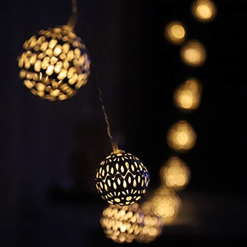 LED Globe Lichterketten, Silberne marokkanische Kugel, Zarte Lichtmuster, Warmweiß, Batteriebetriebene, 20er, 3 Meter, für Innen und Außen