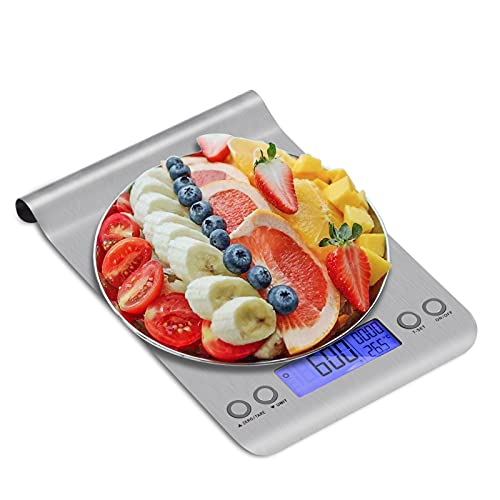 Uten Báscula Digital de Cocina Hangable Balanza Ultrafino de Acero Inoxidable 11Ib/5kg Peso de Cocina de Alimentos Multifuncional, Color Plata (Baterías Incluidas)
