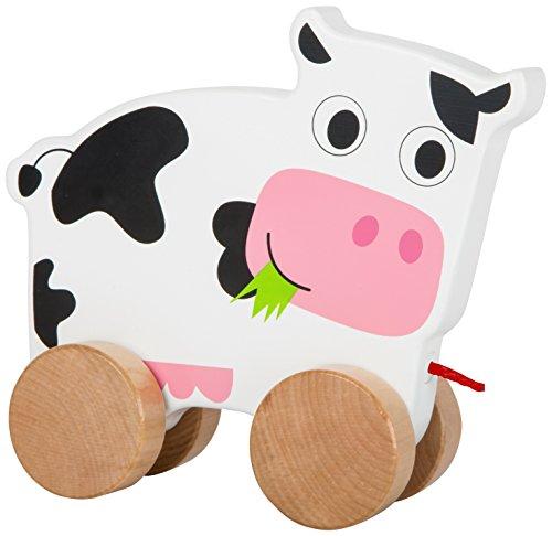 Small Foot 10612 Ziehspielzeug aus Holz mit Kleiner Kuh auf Vier naturbelassenen Rädern und Langer Schnur zum Hinterherziehen