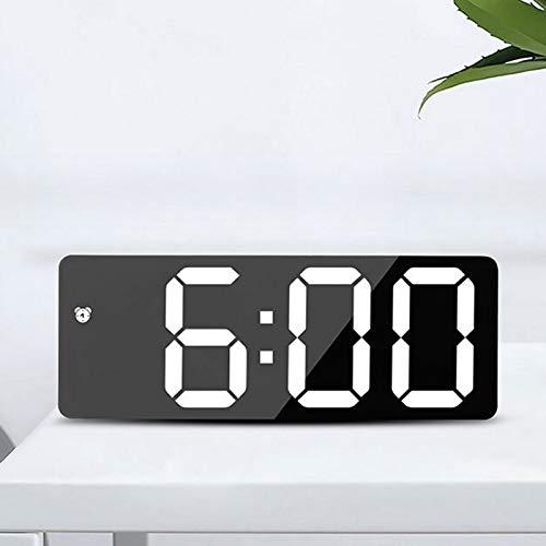 ZLBYB Reloj Despertador acrílico/Espejo LED Reloj Digital Control de Voz Snooze Time Temperature Display Modo Nocturno Reloj de decoración del hogar (Color : A)