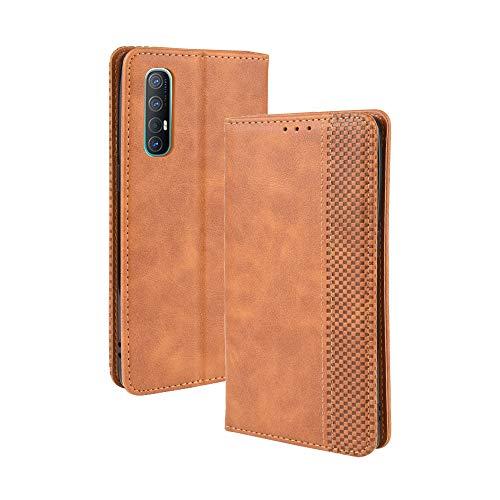 LAGUI Kompatible für Oppo Find X2 Neo Hülle, Leder Flip Hülle Schutzhülle für Handy mit Kartenfach Stand & Magnet Funktion als Brieftasche, braun