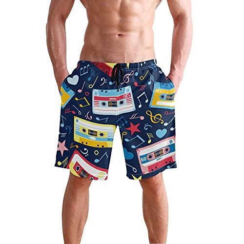CODOYO Troncos de natación para Hombre Notas Musicales Cassettes Viejos Shorts de natación Pantalones Cortos Casuales Junto al mar para Caminar en la Piscina