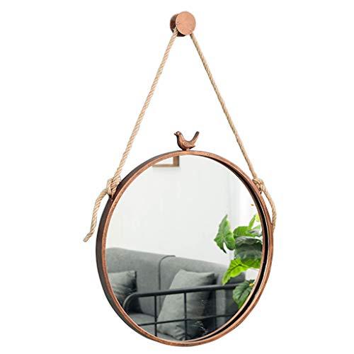 Accessoires de toilettes Miroirs de salle de bain en métal avec miroir de vanité mural Bird Rond Le fer Maquillage Cosmétique Miroir mural pour salon, chambre à coucher, 30-70cm disponible