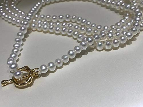 Shangwang - Collar largo de perlas de agua dulce natural, estilo vintage, cadena de 14 quilates, oro relleno de pendientes para mujer, regalo AAAAA