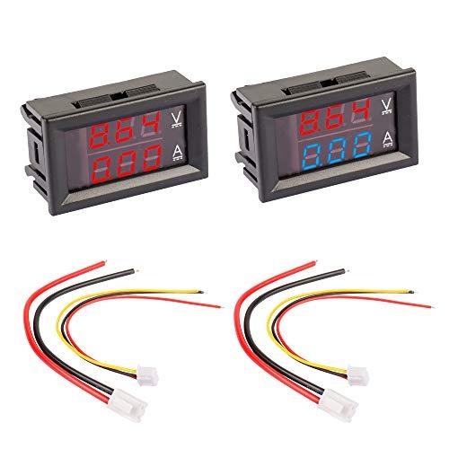"""DesignSter 2pcs 0,28"""" LED Voltmeter Amperemeter, Rot und Blau Digital-Multimeter Anzeige Spannung Strom Tester, DC 0-100V 50A Dual-Display-Detektor-Spannungs Current Meter Panel-Amp Volt Spur"""
