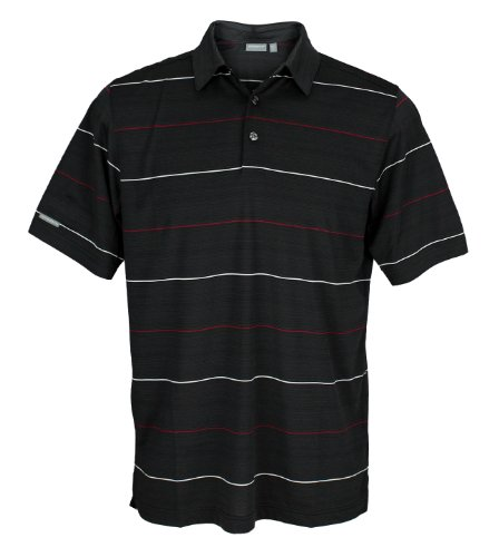 adidas Performance Taylormade Ashworth Polo de Golf rayé pour Homme Noir/Bordeaux Taille L