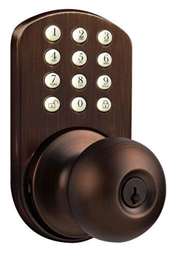 MiLocks TKK-02OB Digital Door Knob Lock with Electronic Keypad for Interior Doors, Oil Rubbed Bronze