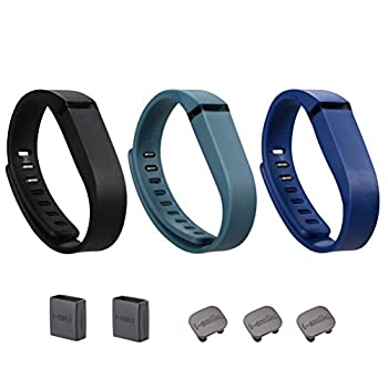I-SMILE 3PCS Replacement Bands with Metal Clasps for Fitbit Flex  No tracker Replacement Bands Only   Black&Navy&Slate Small