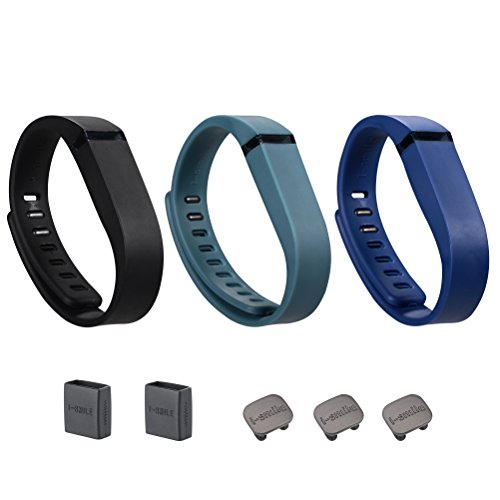 i-smile 3PCS Replacement Bands with Metal Clasps for Fitbit Flex / Wireless Activity Bracelet Sport Wristband / Fitbit Flex Bracelet Sport Arm Band (No tracker, Replacement Bands Only) & Silicon Fastener Ring For Free (Black&Navy&Slate, Large)
