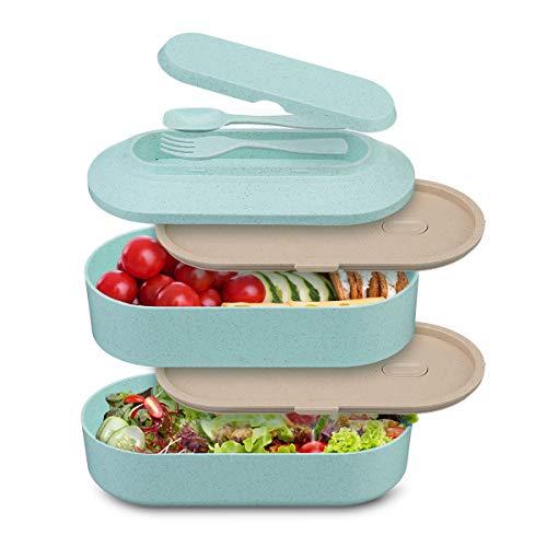 Comfook Lunch Box, Scatola Pranzo 2 Scomparti, Contenitore Bento Box con 2 Posate | Contenitore per Alimenti BPA Free | Porta Pranzo per Adulti e Bambini