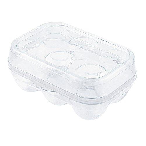 YOHA Transparente Eier-Aufbewahrungsbox für 6 Eier, Eierspender, Halter, Kühlschrank, Crisper, Camping, Picknick, Reisen, tragbar, transparent