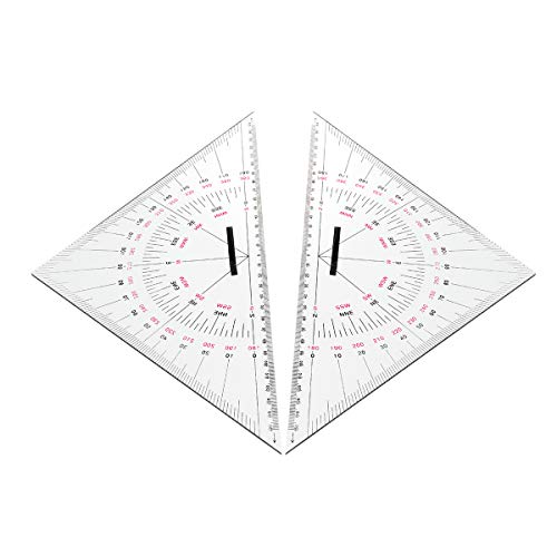 MYAMIA 2 Stück Navigation Dreieck Winkelmesser 300Mm Acryl Hypotenuse Nautische Quadrate