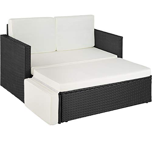 TecTake 800693 Poly Rattan Lounge Set, 2 Sitzer Sofa mit Hocker, Ottomane, inkl. Dicke Auflagen – Diverse Farben...