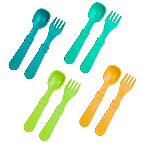 RE-PLAY Made in USA | 8pk Toddler Feeding Utensils Spoon and Fork Set | BPA Free Eco Friendly Recycled Milk Jugs - Virtually Indestructible | Lime Green, Teal, Aqua, Sunny Yellow | (Aqua Asst+)